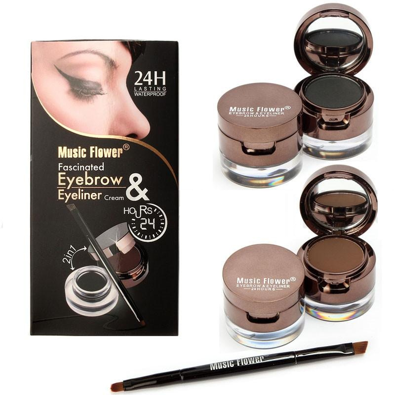 Music Flower 2 In 1 Long Lasting Gel Eye Liner & Eyebrow Powder