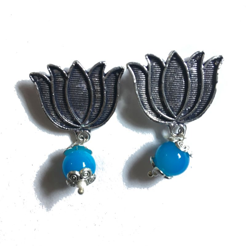 Lotus skyblue stud earrings