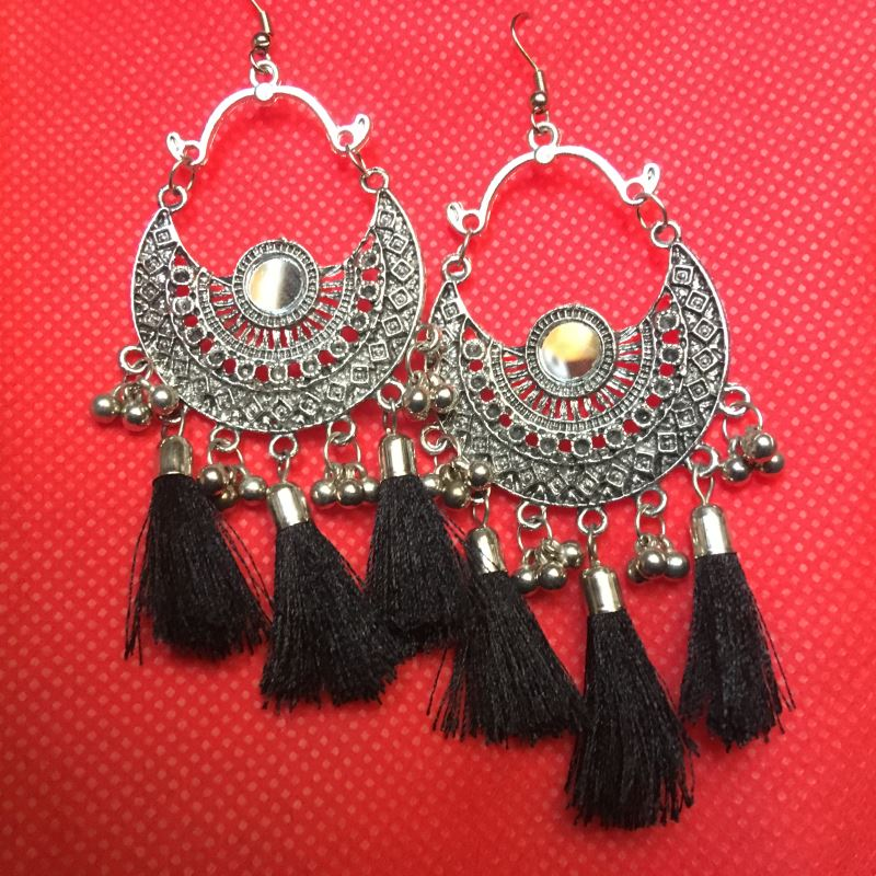 Mirror chandbali black frings earring