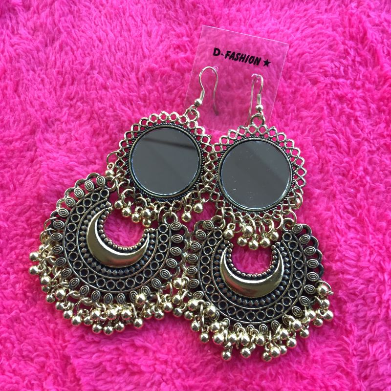 Big mirror double Long Dangle Earrings