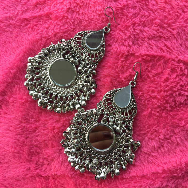 Big double dangle earring with mirror