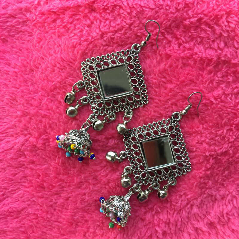Long earring with small colorful jhumki and mirror