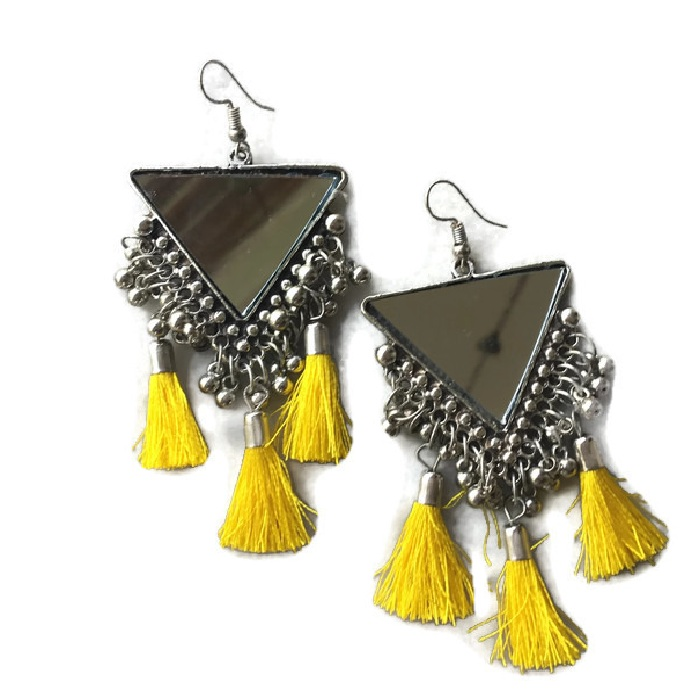 Triangle Mirror Yellow Earring