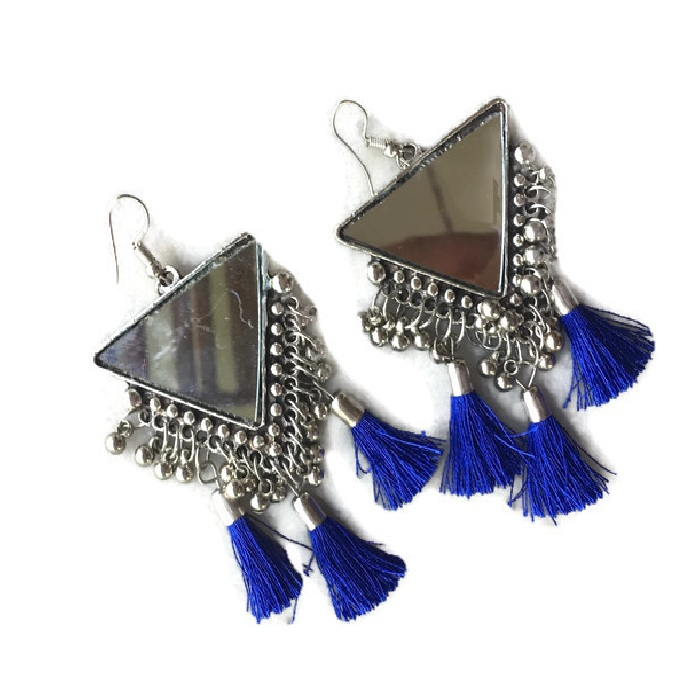 Triangle Mirror royal blue Earring