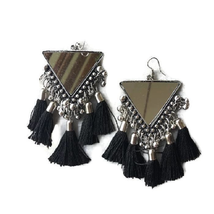 Triangle MirrorBlack Earring