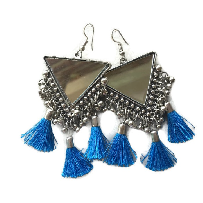 Triangle Mirror Sky Blue Earring