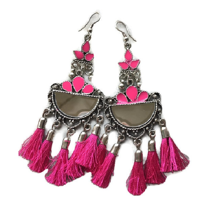 Half Chand mirror pink fringes Earring