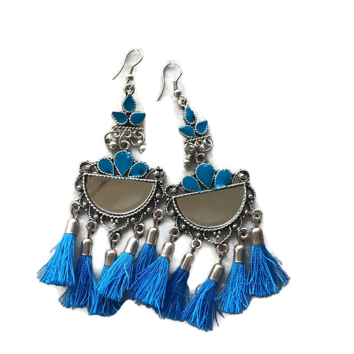 Half Chand mirror Sky Blue fringes Earring