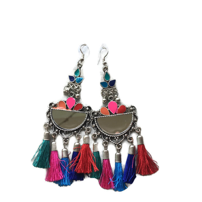 Half Chand mirror multi color fringes Earring