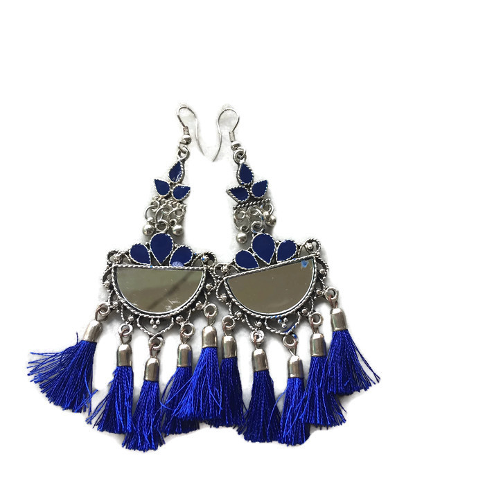 Half Chand mirror royal Blue fringes Earring