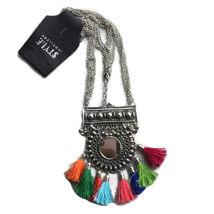 Mix Afghani Beaded Long Pendant Necklace with Mirrors Alloy