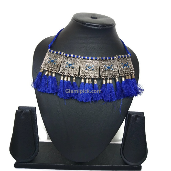 Royal Blue Boho Oxidized Square Tassels choker