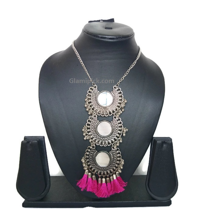 Pink necklace Silver Plated Metal