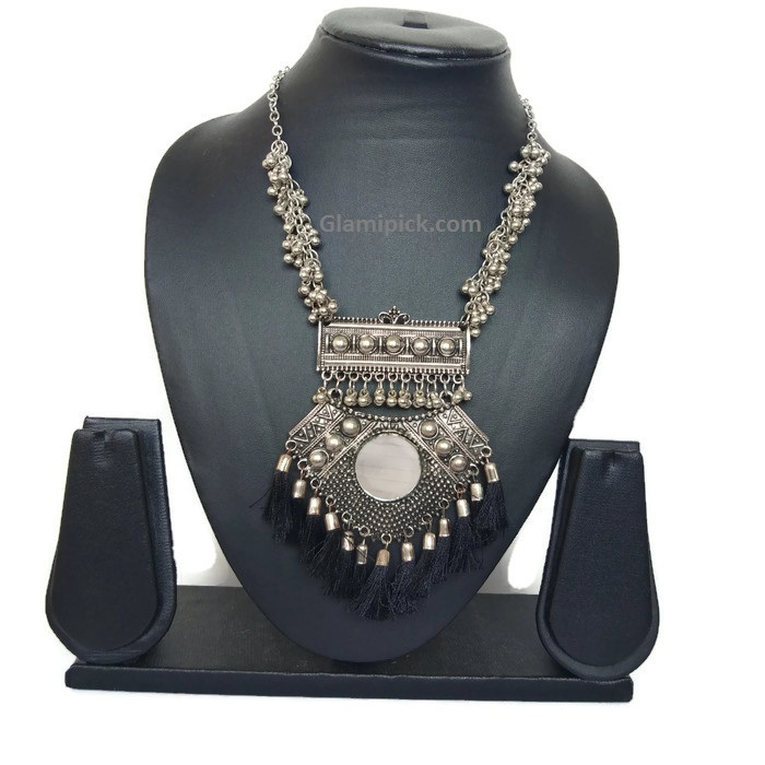 Oxidize mirror black fringe necklace