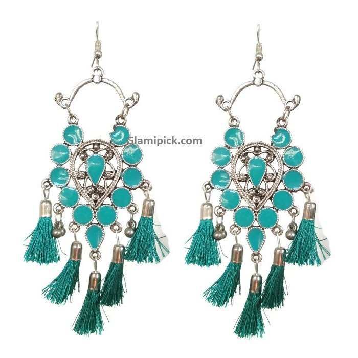 Flower Silver metal hook Jhumki - Sea Green