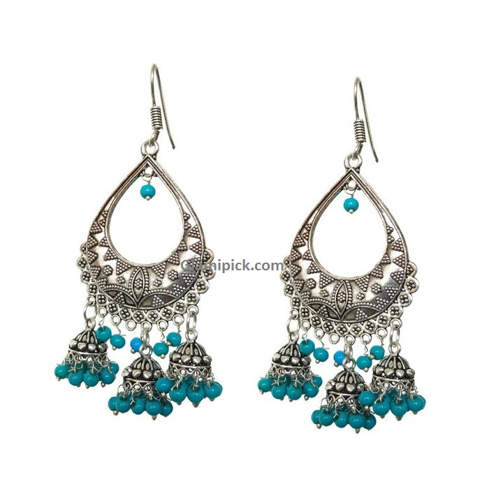 Chandbali hook earing with three jhumkis - Blue