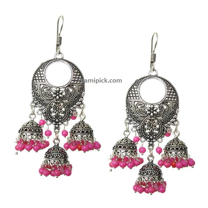 Chandbali hook earing with three jhumkis - Pink