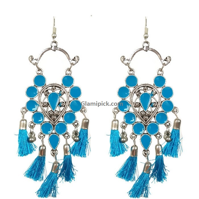 Frings tready hook earrings -  Sky Blue