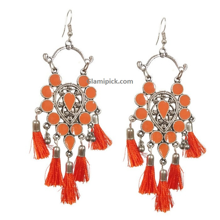 Frings tready hook earrings -  Orange