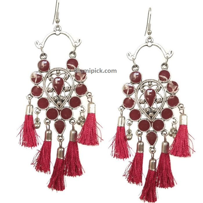 Frings tready hook earrings -  Maroon