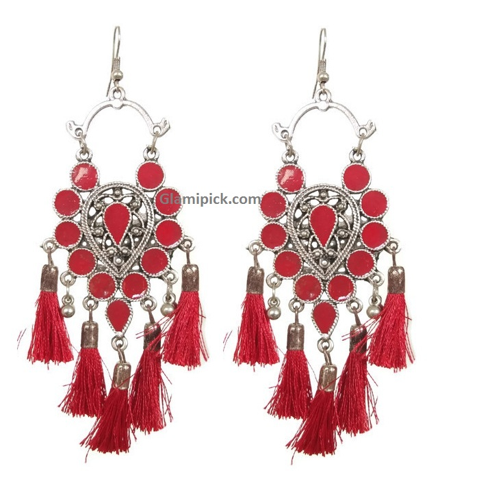 Frings tready hook earrings -  Red