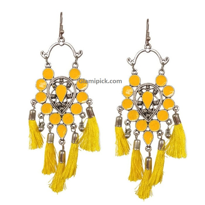 Frings Trendy hook earrings -  Yellow