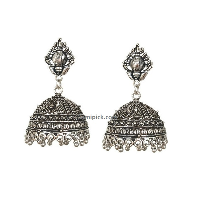 Flower Silver metal hook Jhumki