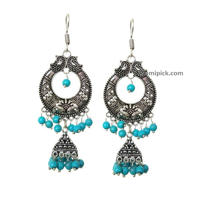 Chandbali earing - Blue
