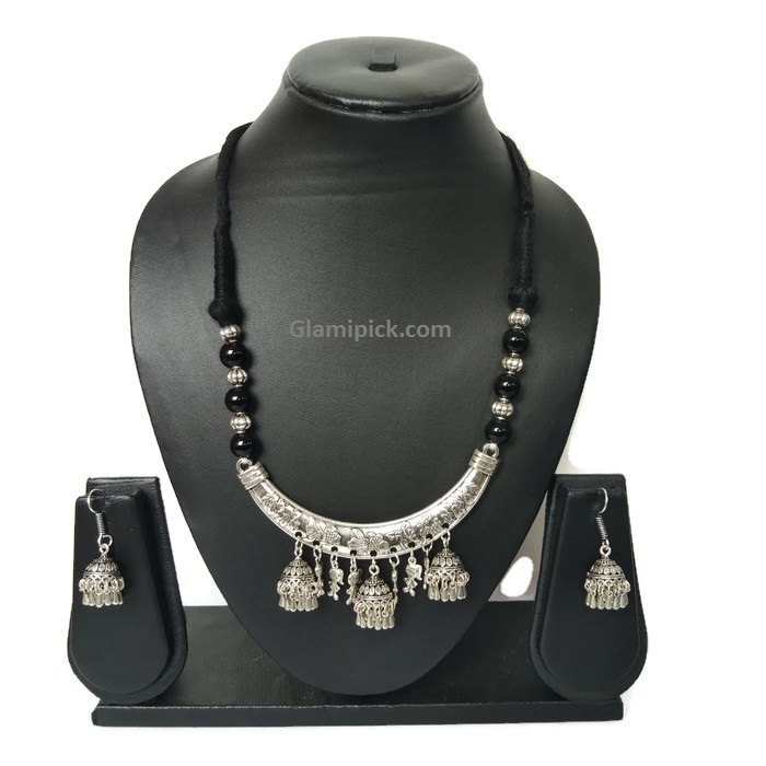 Black Necklace set with oxidize touch