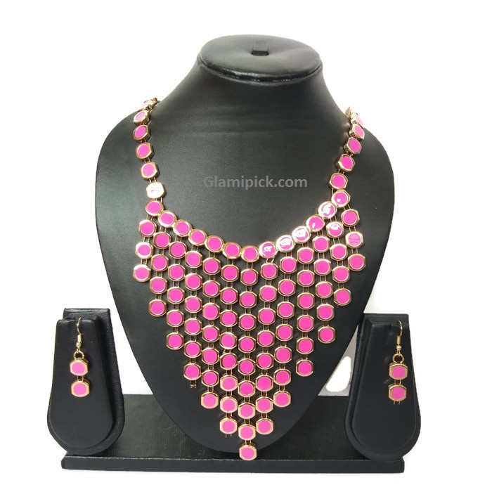 Pink Necklace set with golden touch