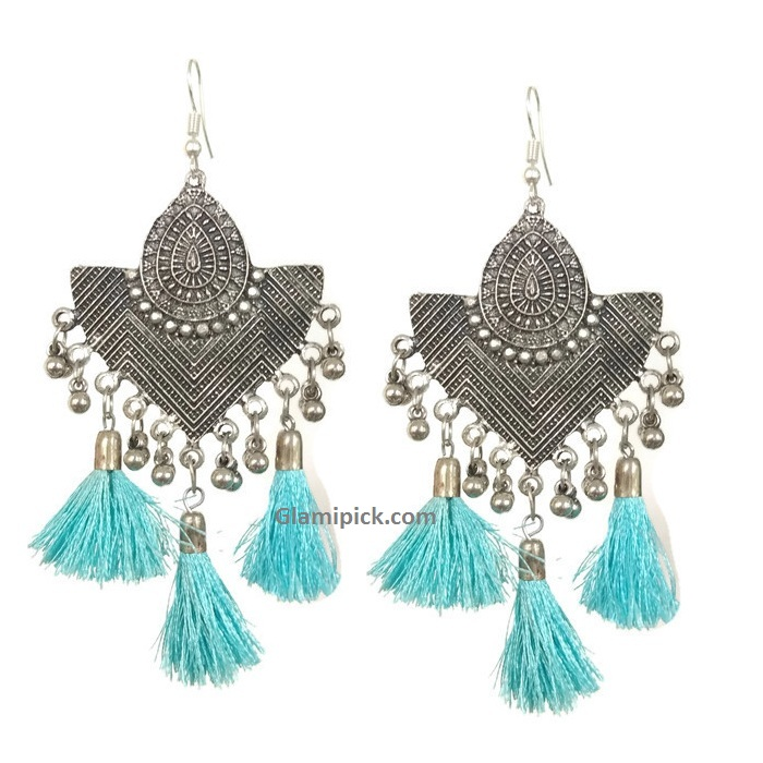 Oxidize  earrings with orange fringes