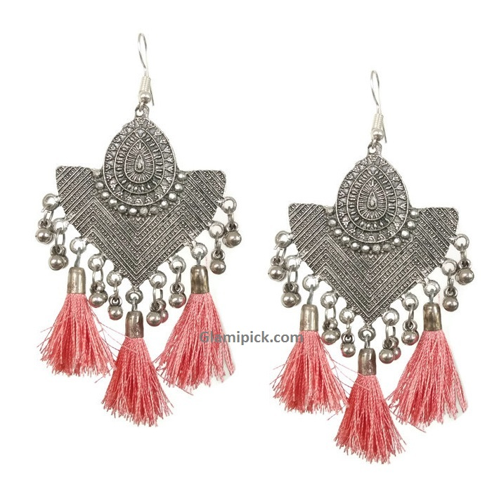 Oxidize earrings with peach color fringes
