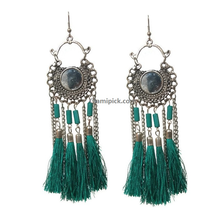 Fringes Skygreen Tassel Dream catcher Earrings
