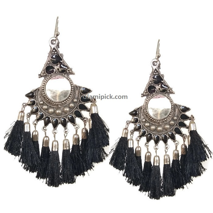 Thread Tassels Dangle Earrings with mirror