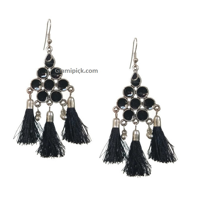 Black thread tassel hook earring