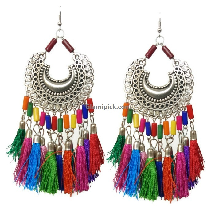 Multicolor thread tassel dangle earrings