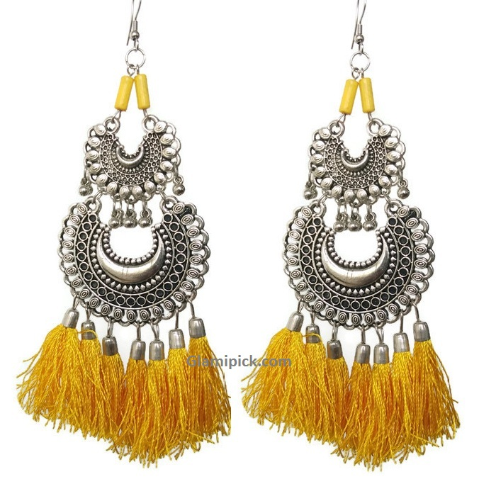 Yellow thread tassel double dangle earrings