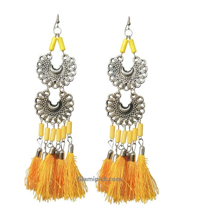 Yellow tassel long double dangle earrings