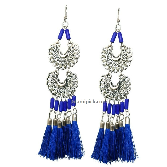 Royal blue tassel long double dangle earrings