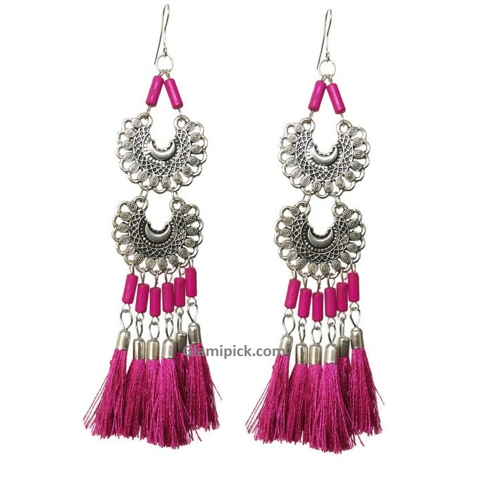 Pink tassel long double dangle earrings