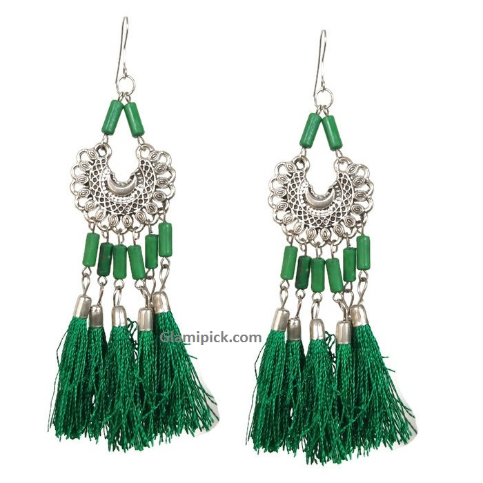 Green tassel long dangle earrings