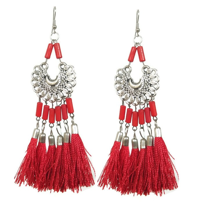 Red tassel long dangle earrings