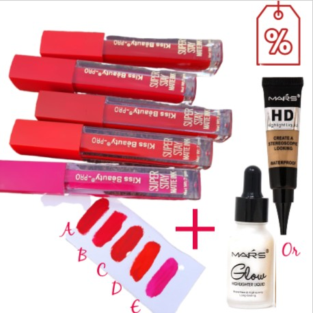 Kiss Beauty Superstay Lipstick Buy 2 Get 1 highlighter
