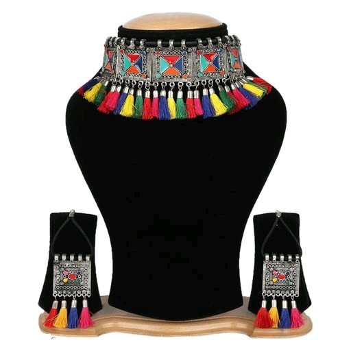 Silver Plated Oxidised Tribal Cotton Thread Jewellery Necklace