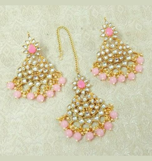 Mangtika with Earrings Baby Pink