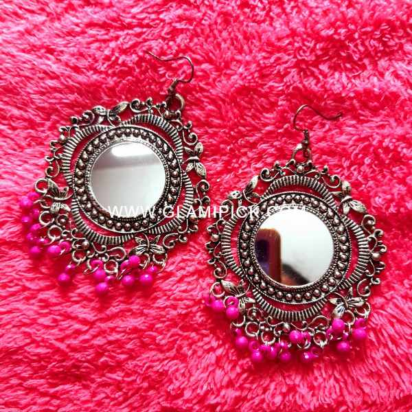 Mirror Earring with pink beads
