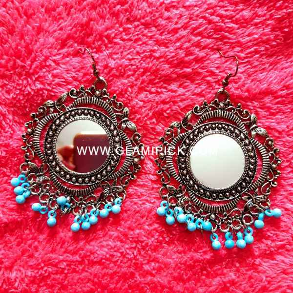 Mirror Earring with Blue beads