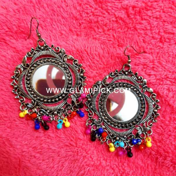 Mirror Earring with Multi beads