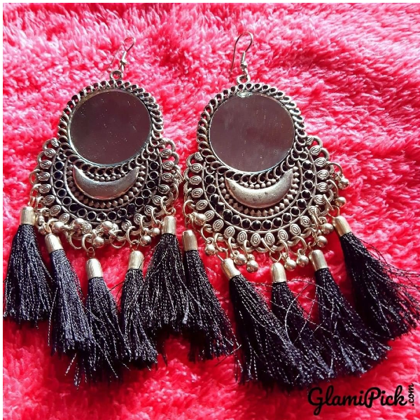 Black tassel with mirror Dangle Earrings