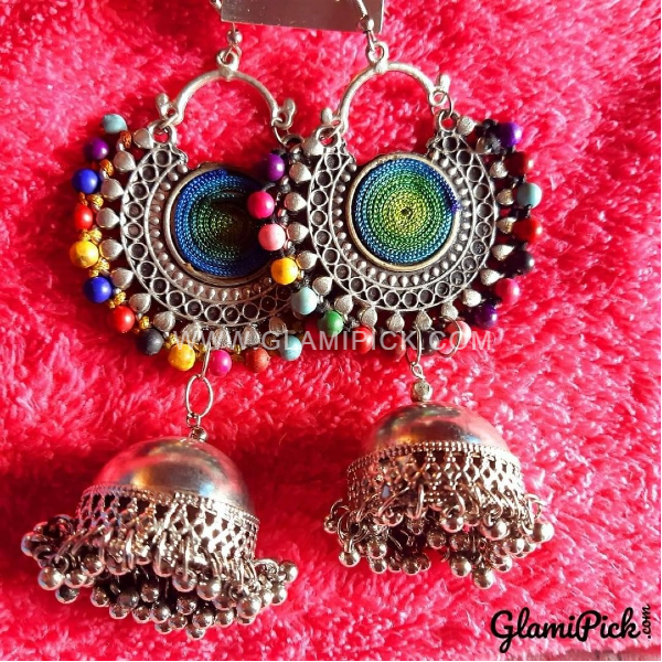 Oxidized Multi Color Bids Jhumki Earrings
